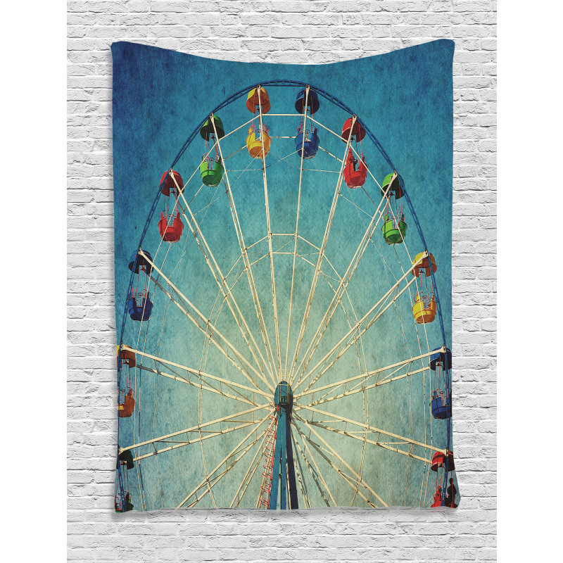 Ferris Wheel Fun Retro Tapestry