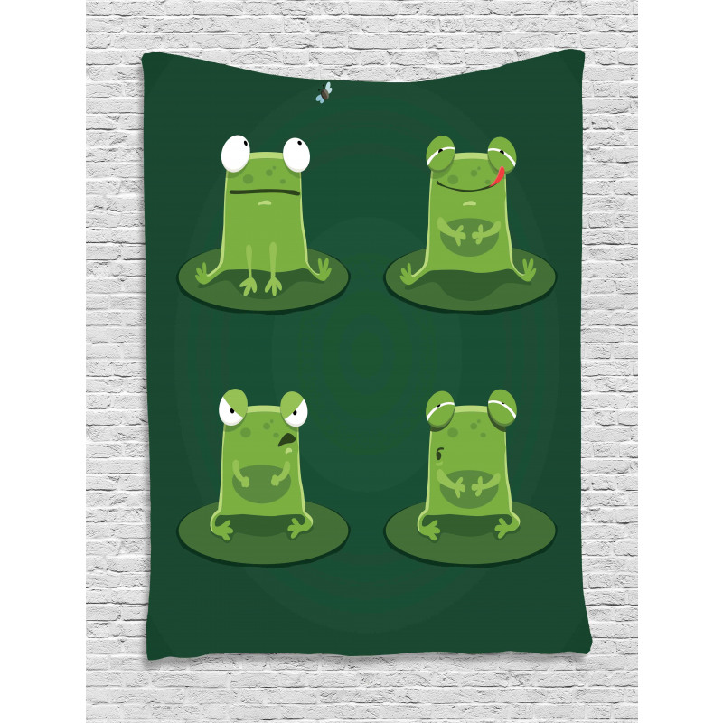 Frogs in Pond Lily Pad Tapestry