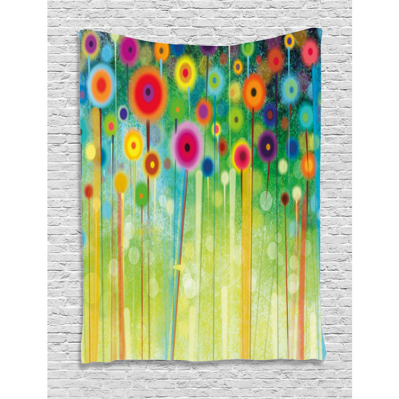 Abstract Art Dandelion Tapestry
