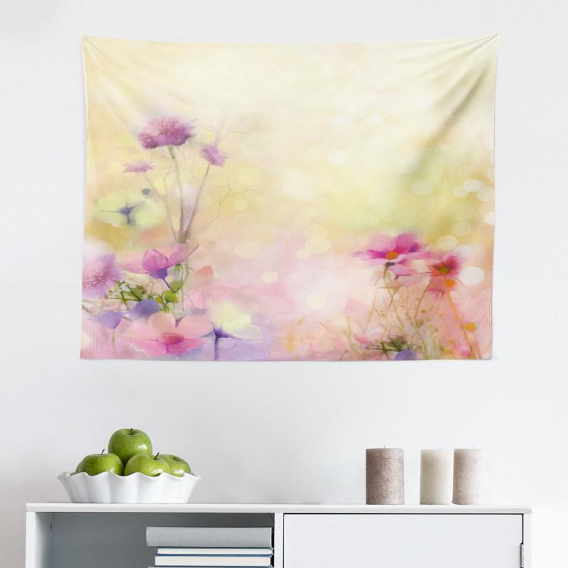 Bahar Mikrofiber Geniş Duvar Halısı Pembe Çiçek Desenli