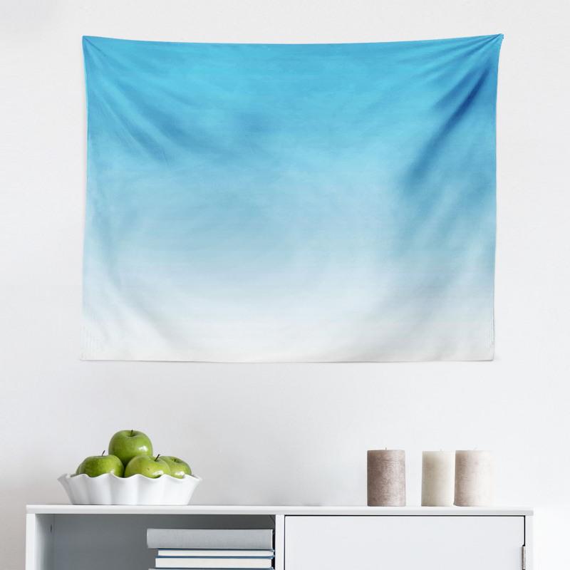 Mikrofiber Geniş Duvar Halısı Mavi ve Beyaz Desenli