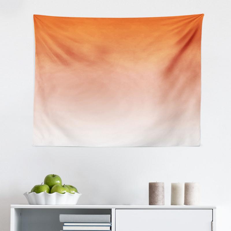 Mikrofiber Geniş Duvar Halısı Turuncu Beyaz Desenli