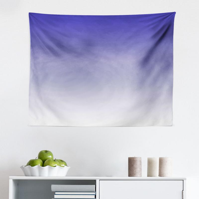 Mikrofiber Geniş Duvar Halısı Mavi Beyaz Desenli