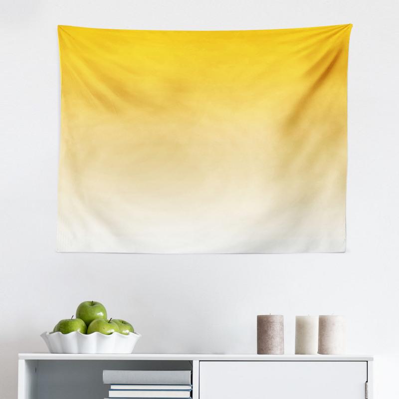 Mikrofiber Geniş Duvar Halısı Sarı Beyaz Desenli