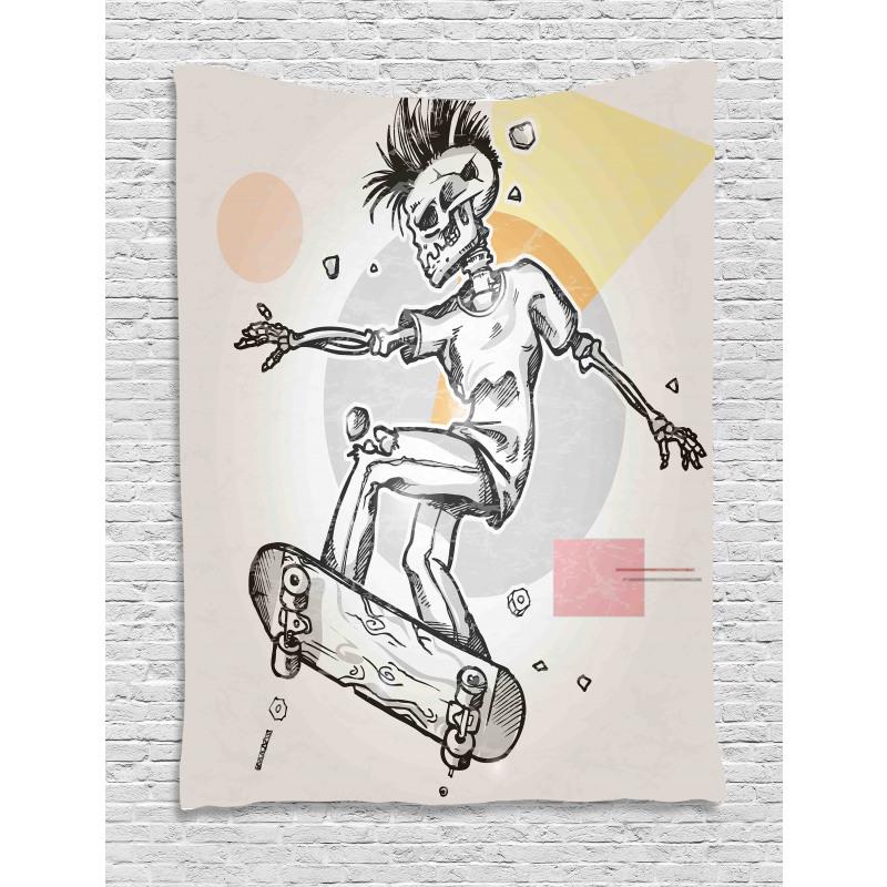 Skating Skeleton Boy Tapestry