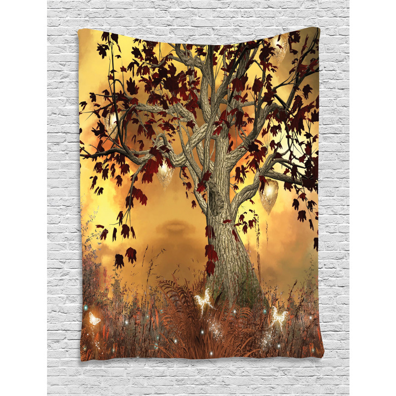 Tree Earthy Color Tones Tapestry