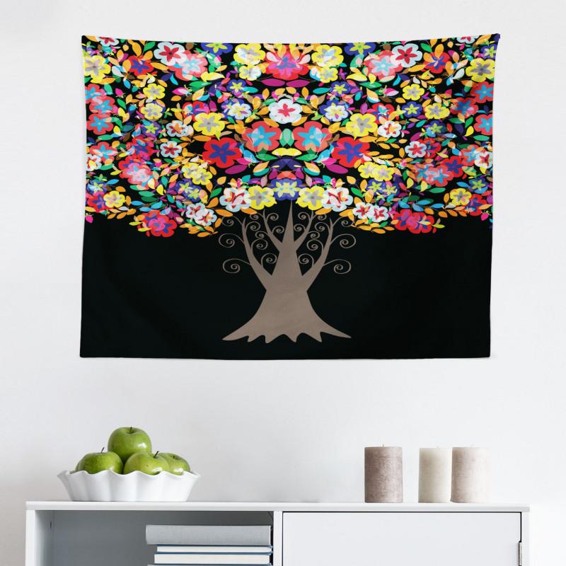Bahar Mikrofiber Geniş Duvar Halısı Rengarenk Çiçekli Ağaç