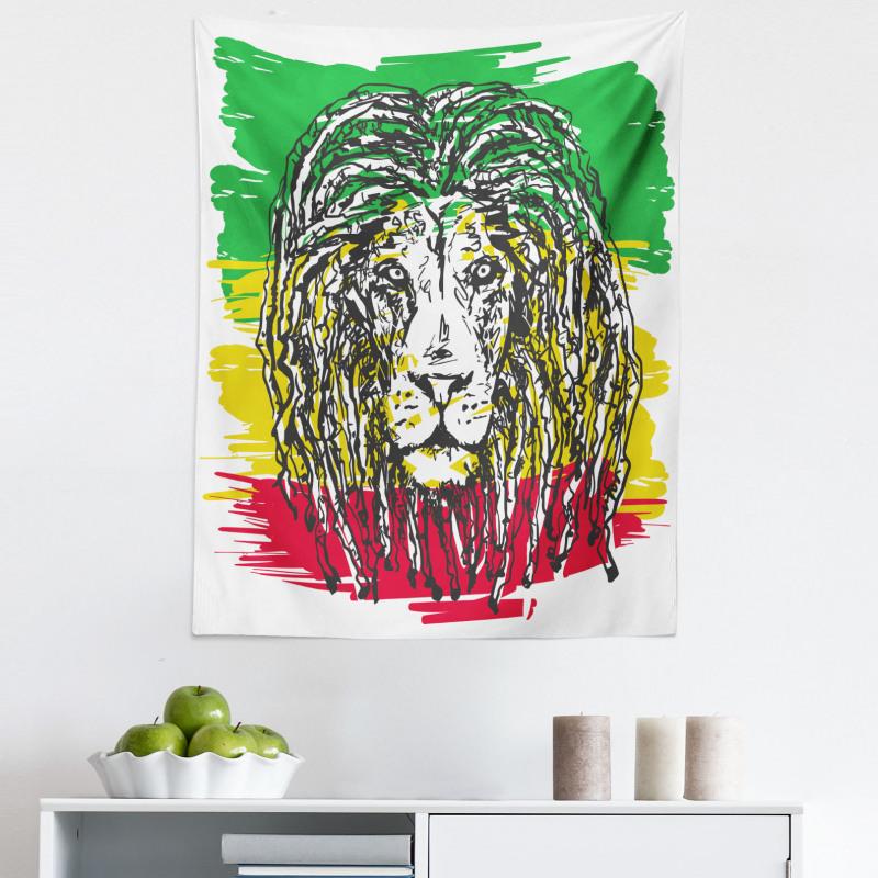 Afrika Mikrofiber Duvar Halısı Siyah Aslan Portresi