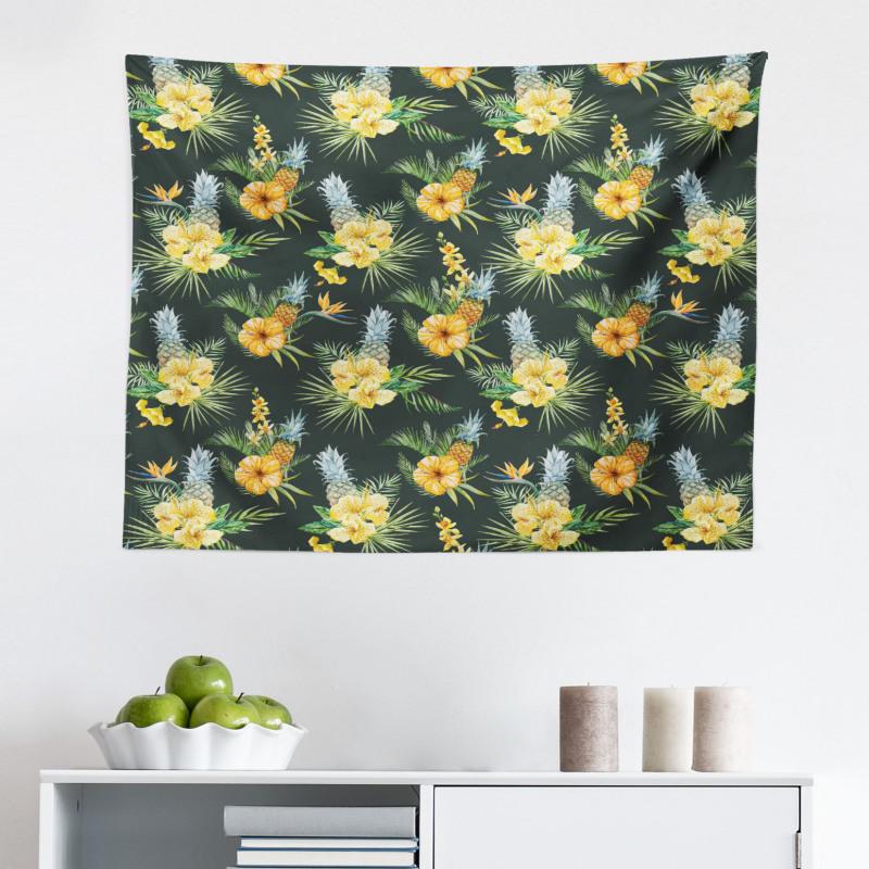 Bahar Mikrofiber Geniş Duvar Halısı Retro Tarz Sarı Çiçekler ve Mavi Ananaslar
