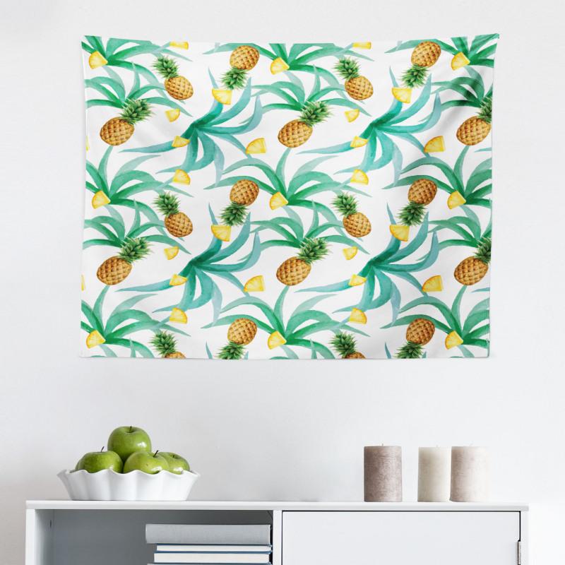 Bahar Mikrofiber Geniş Duvar Halısı Sulu Boyayla Yapılmış Yapraklar ve Ananaslar