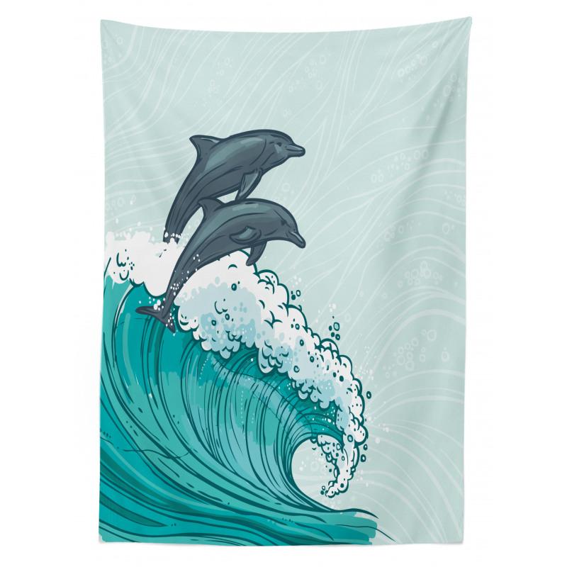 Sea Waves Sketch Art Tablecloth