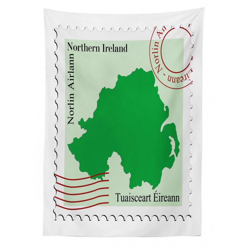 Avrupa Masa Örtüsü Kuzey İrlanda Haritası ile Posta Pulu Deseni