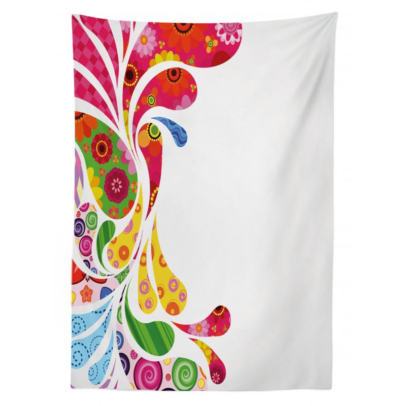 Retro Floral Leaf Art Tablecloth