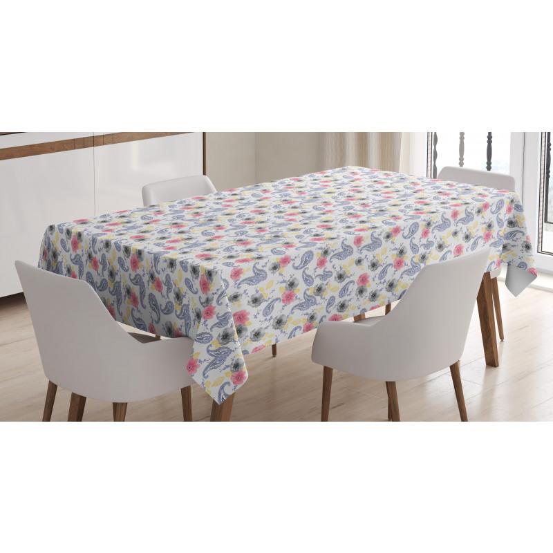 Masa Örtüsü Pembe Gri Çiçekli