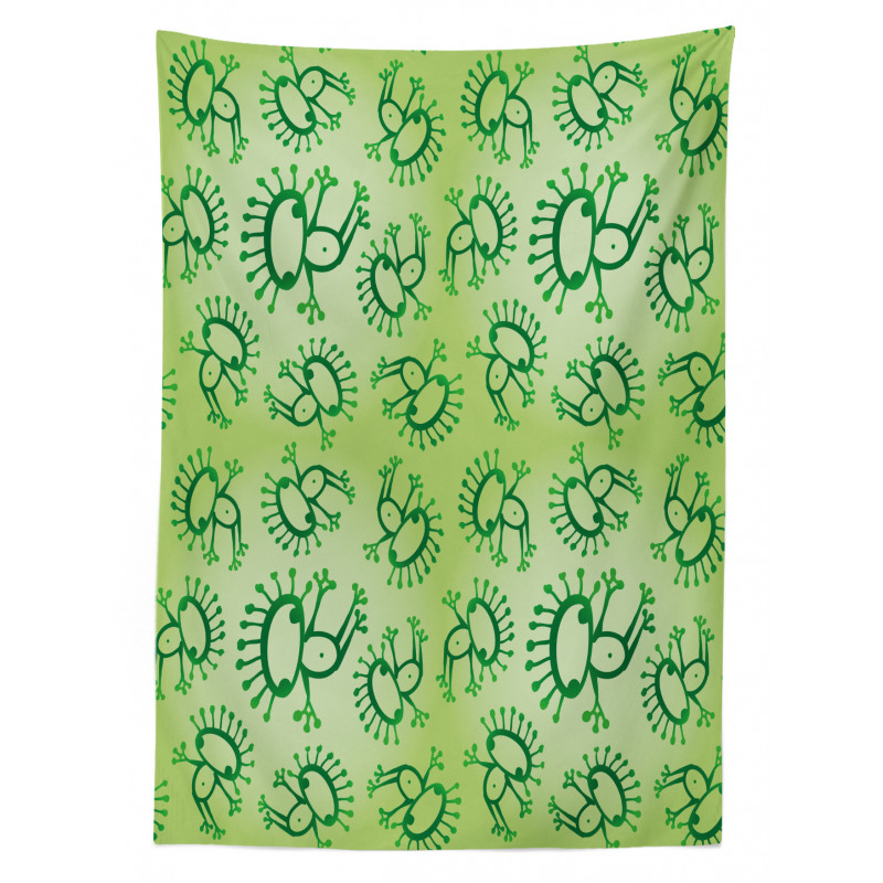 Doodle Style Alien Frogs Tablecloth