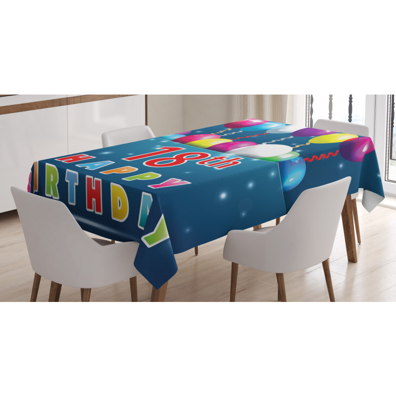 18 Birthday Balloons Tablecloth