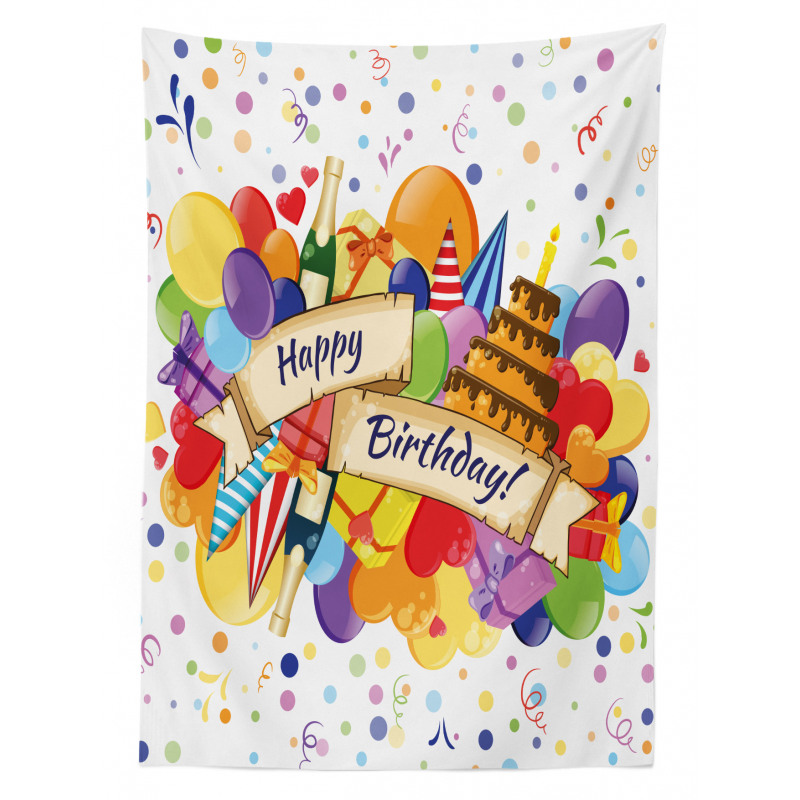 Drinks Cake Balloons Tablecloth