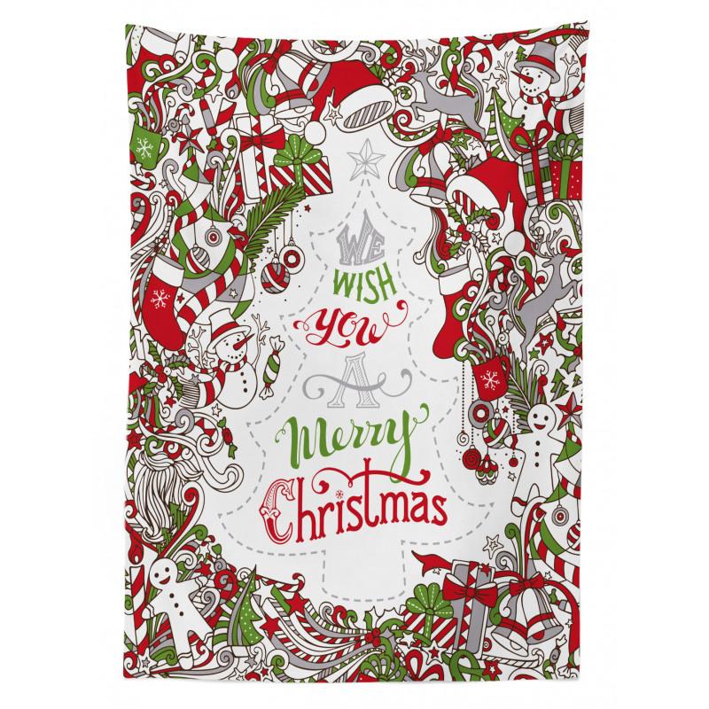 Santa Snowman Wishes Tablecloth