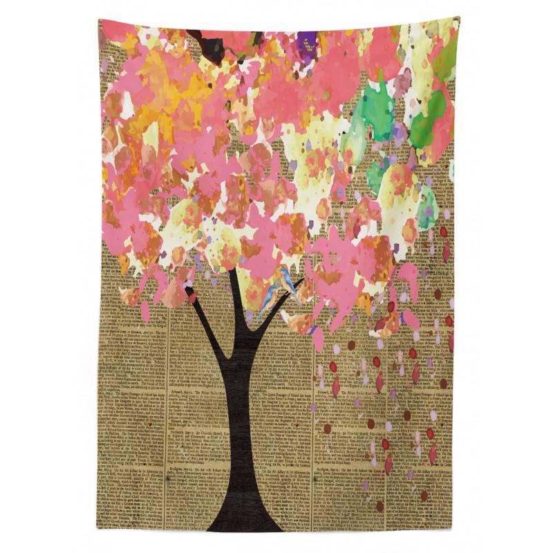Happy Birds Colorful Tree Tablecloth