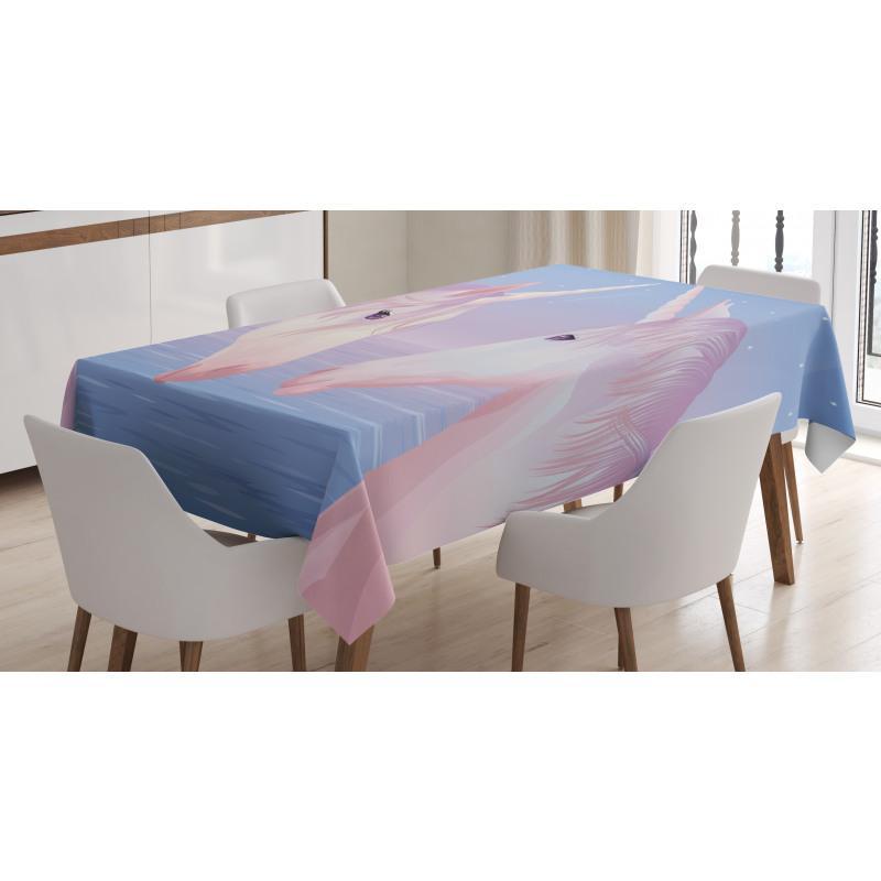2 Akhal Teke Unicorns Tablecloth