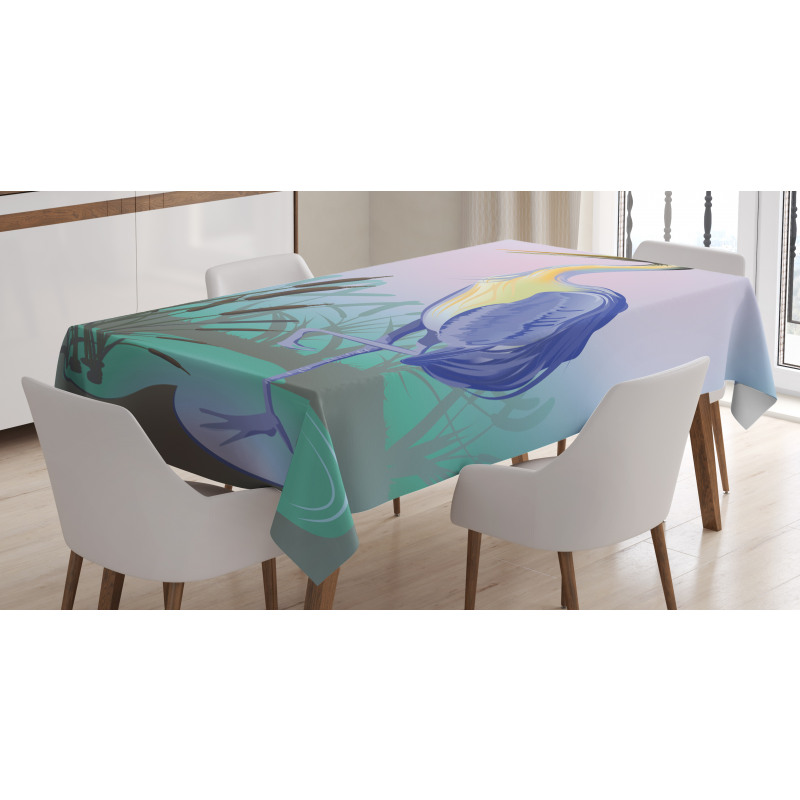 Heron with Reed Water Tablecloth