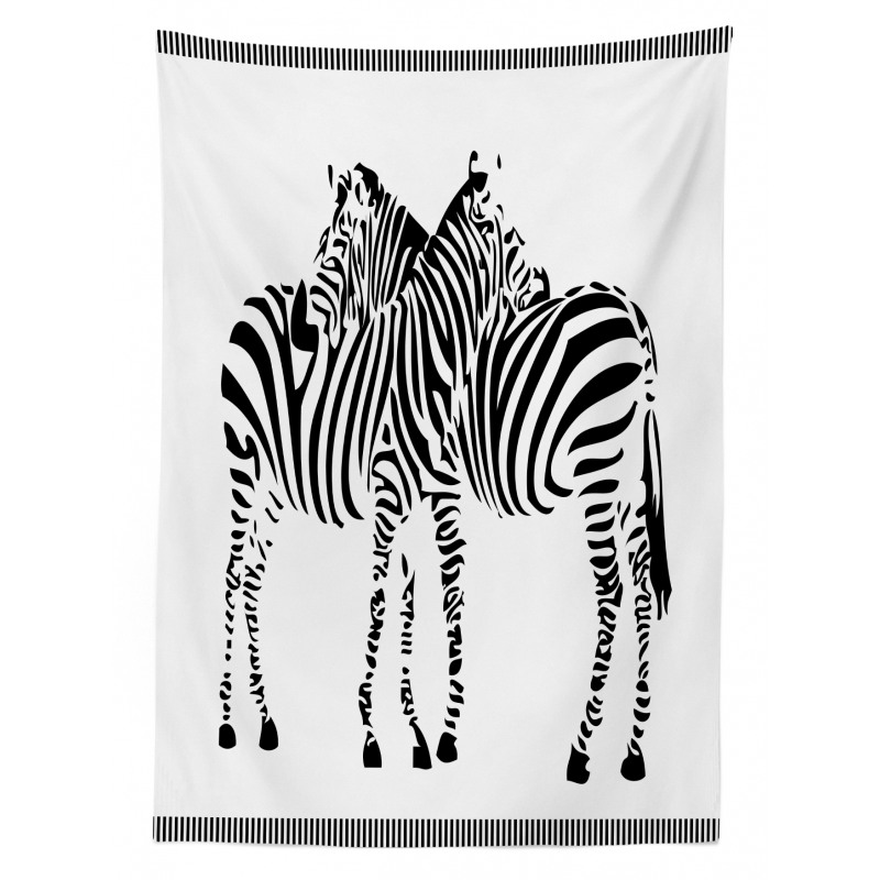 2 Zebras Silhouette Tablecloth