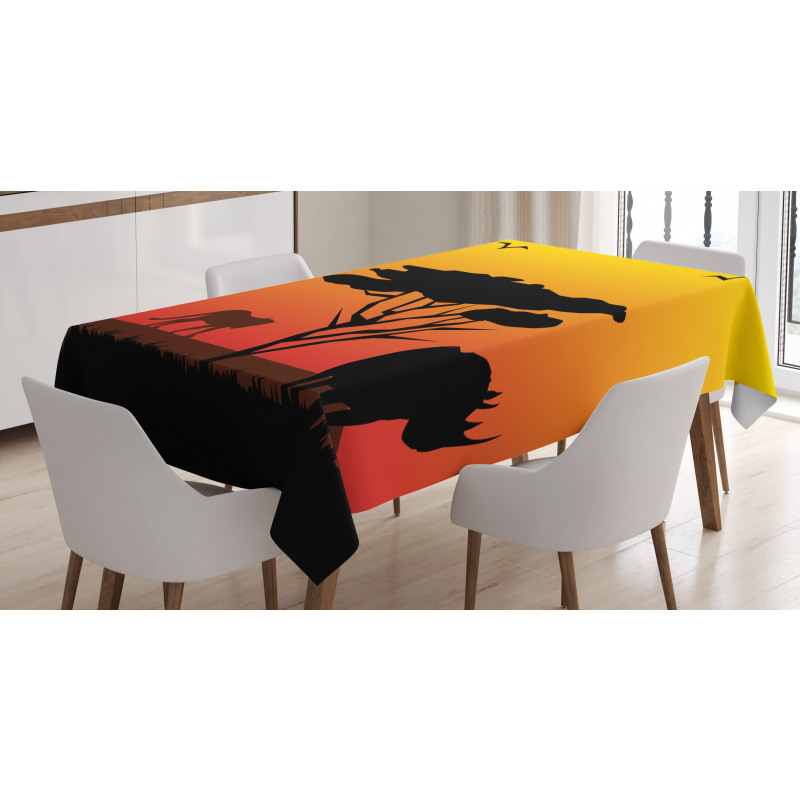 Silhouette of Animals Tablecloth