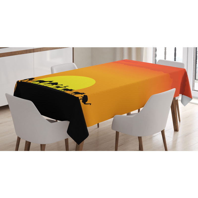 Animals Sun Silhouette Tablecloth