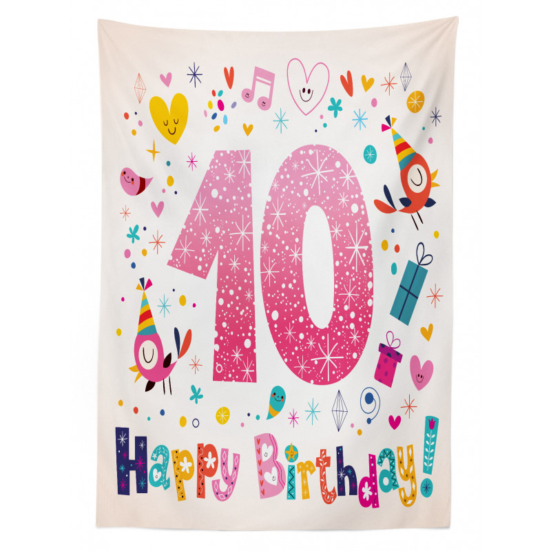 10 Years Kids Birthday Tablecloth