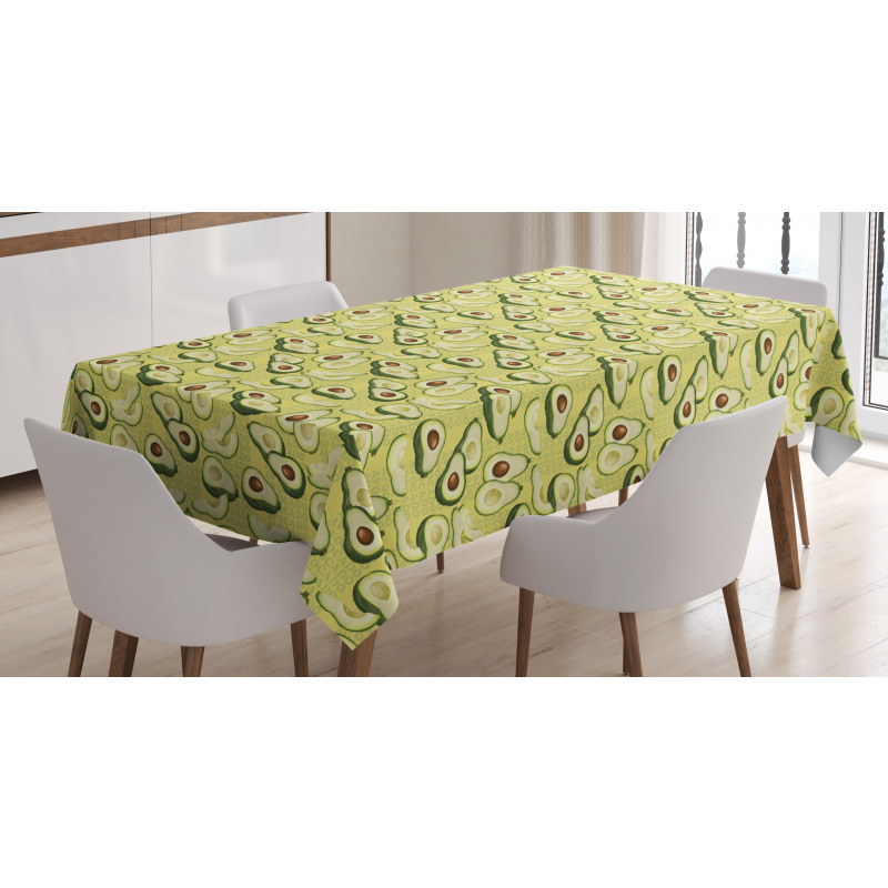 Avokado Masa Örtüsü Yazılı Arka Plan Üzerinde Sağlıklı Meyveler