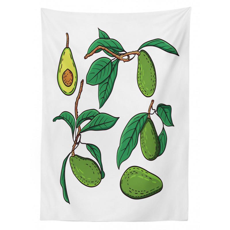 Avokado Masa Örtüsü Dalında Alınmamış Sağlıklı Meyve Dizayn