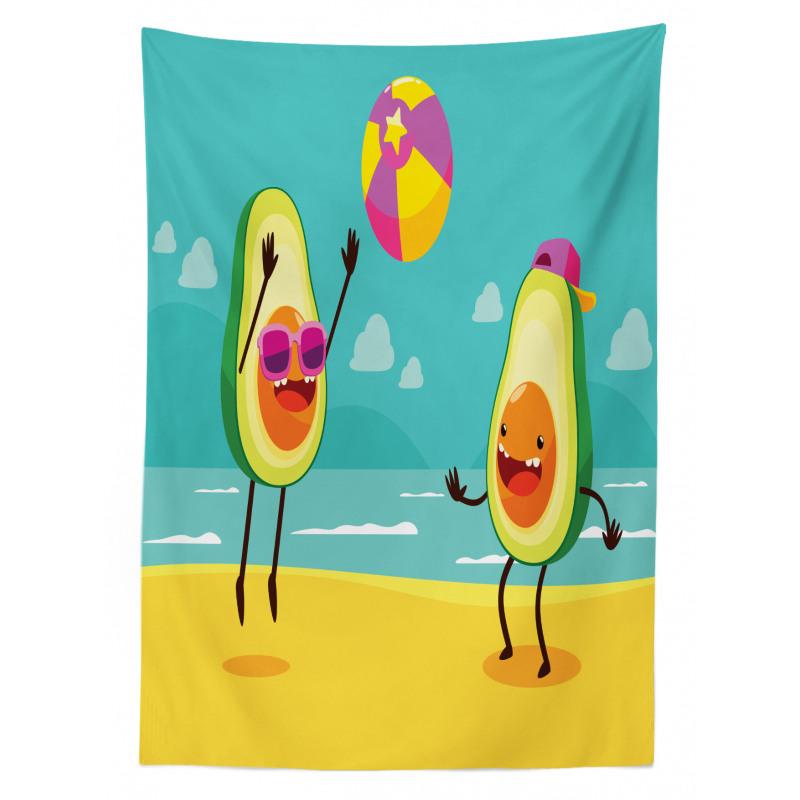 Avokado Masa Örtüsü Plajda Voleybol Oynayan Sağlıklı Meyveler