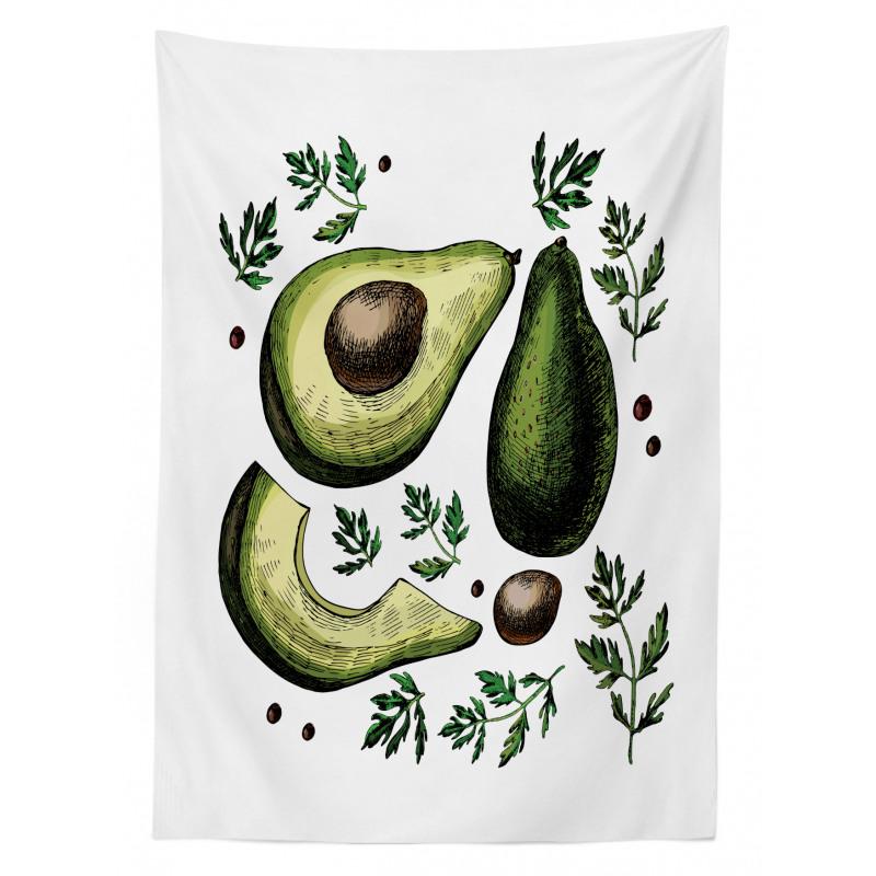 Avokado Masa Örtüsü Farklı Parçaları Gösterilen Sağlıklı Meyve