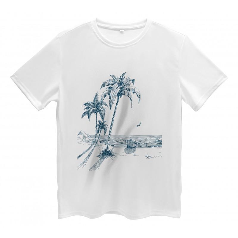 Palm Tree Boat Sketch Men's T-Shirt