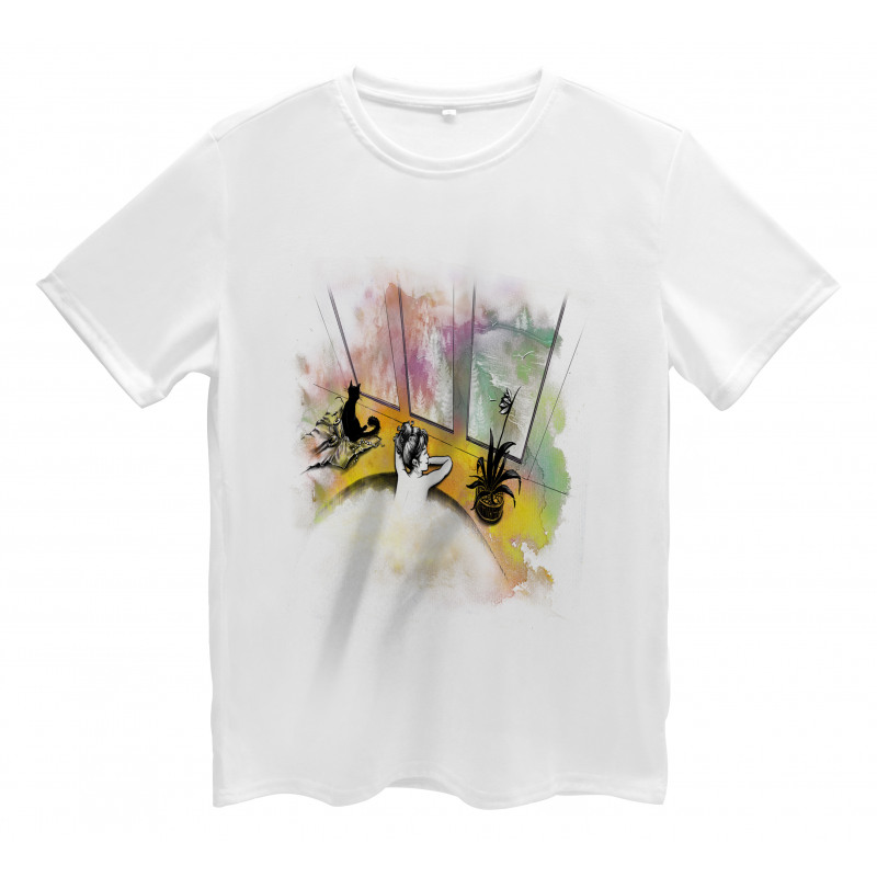 Girl and Cat in Bath Men's T-Shirt