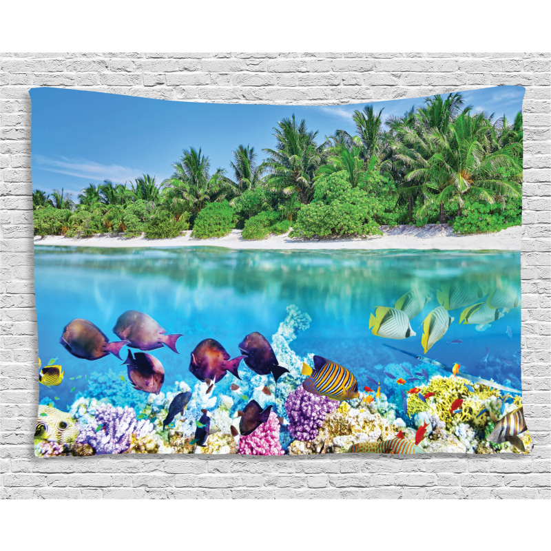 Aquatic World Maldives Wide Tapestry