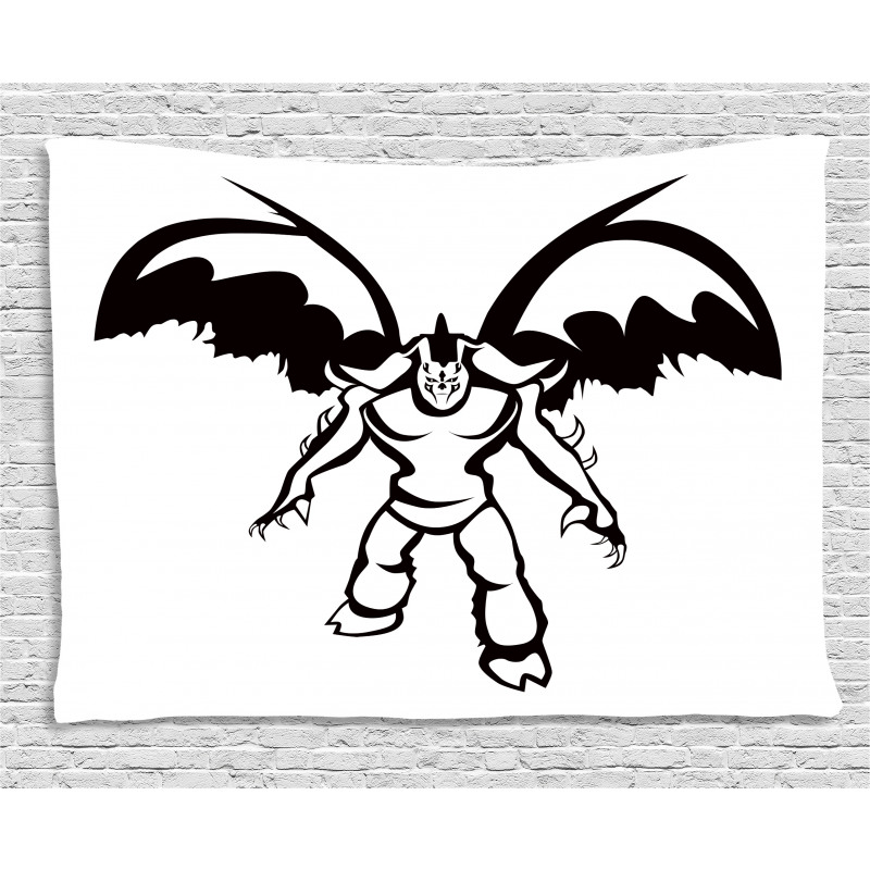 Fantasy Warrior Wings Wide Tapestry