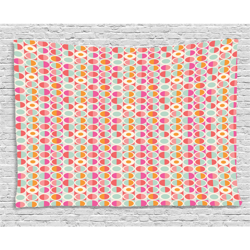 Funky Colorful Circles Wide Tapestry