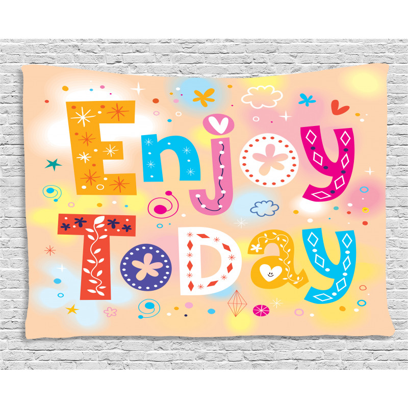Enjoy Today Words Wide Tapestry
