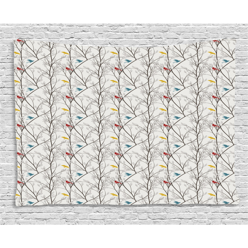 Spriggy Forest Trees Wide Tapestry