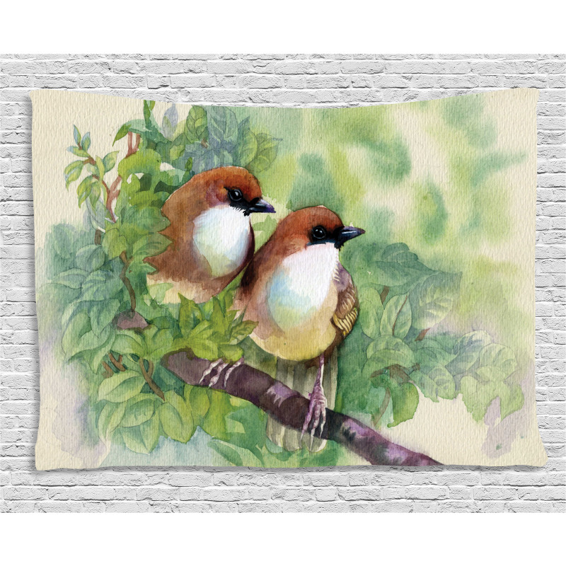 Pair of House Sparrow Wide Tapestry