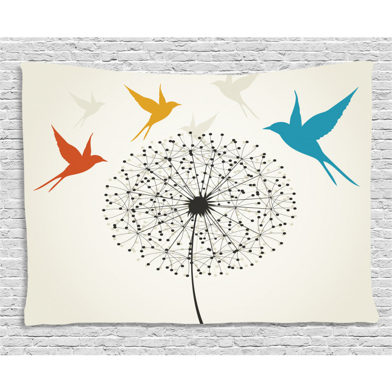 Dandelion and Swallows Wide Tapestry