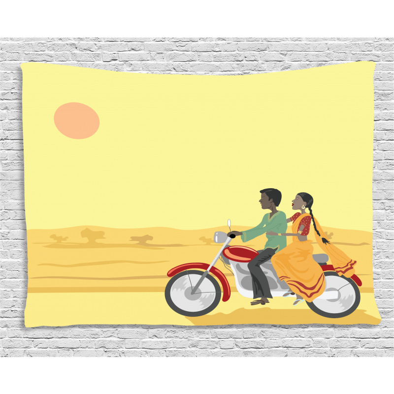 Couple Sunset Wide Tapestry