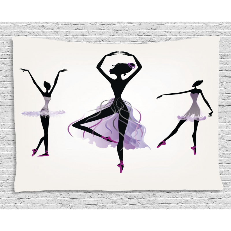 Ballerina Dancer Silhouettes Wide Tapestry