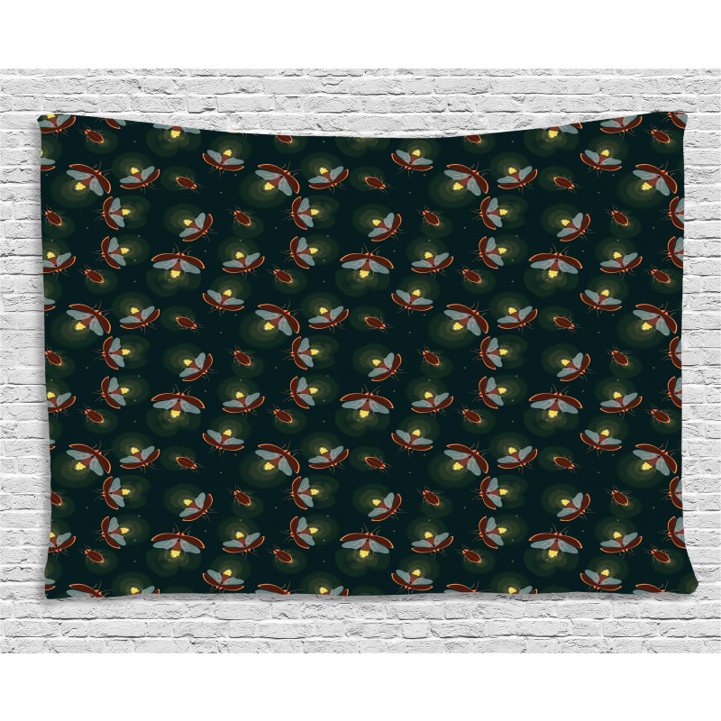 Night at Woodland Insects Wide Tapestry
