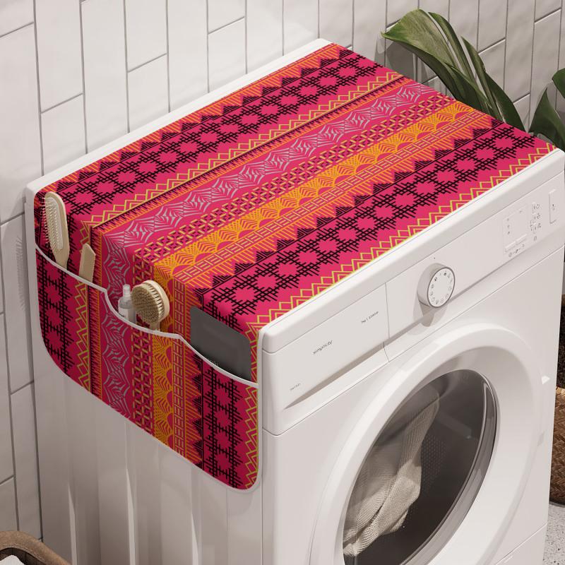 Afrika Çamaşır Makinesi Düzenleyici Zikzaklar ve Çizgiler ile Soyut Etnik Desen