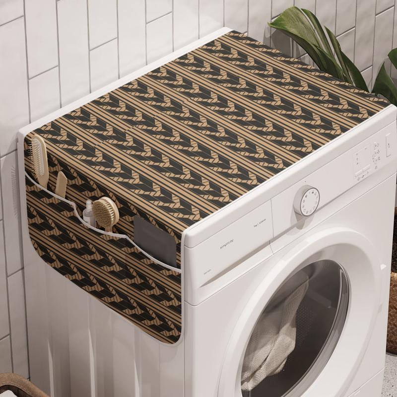 Absürt Çamaşır Makinesi Düzenleyici Dikine Çizgili Nötr Tonlu Geometrik Şekiller