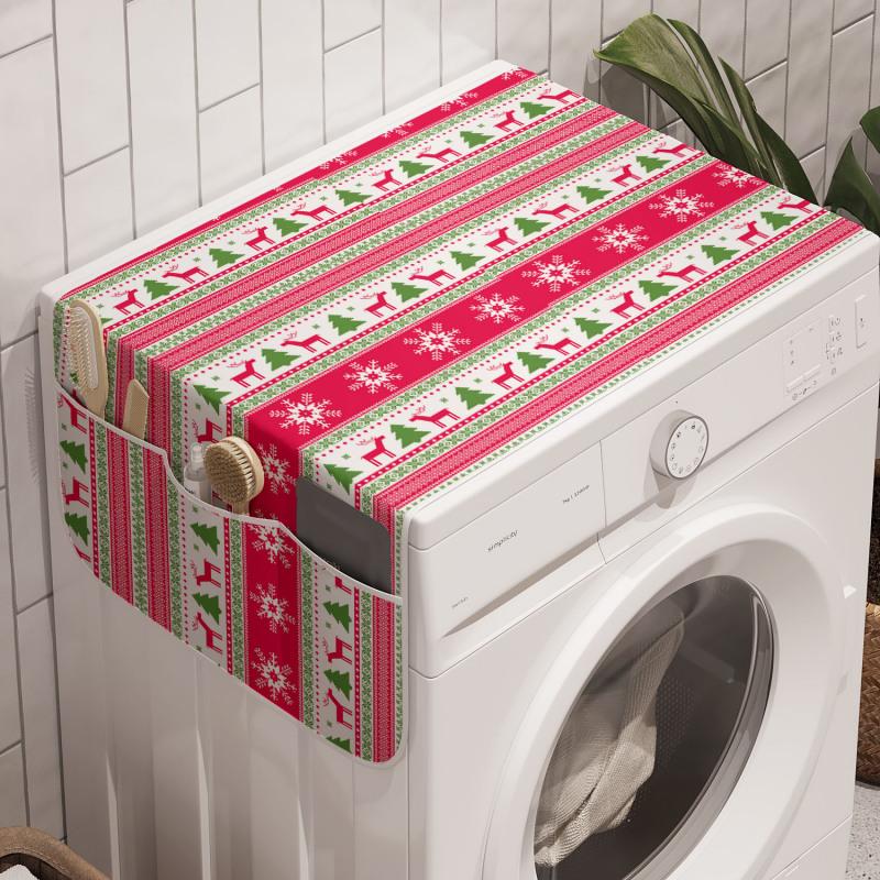 Avrupa Çamaşır Makinesi Düzenleyici Yatay Şeritler Kar Taneleri ve Ren Geyikleri